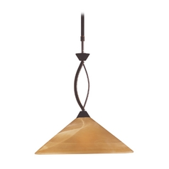 Modern Pendant Light with Beige / Cream Glass in Aged Bronze Finish