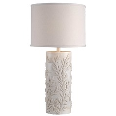 Table Lamp with White Shade in Antique White Finish