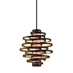Vertical Pendant Light with Inner Glass Cylinder Shade and Four Lights