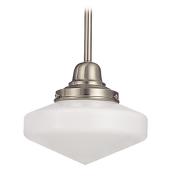 Design Classics Lighting 8-Inch Schoolhouse Mini-Pendant Light in Satin Nickel Finish FB4-09 / GE8