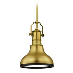 Farmhouse Brass / Black Small Pendant Light 8.63-Inch Wide