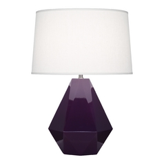Modern Art Deco Table Lamp Amethyst / Polished Nickel Delta by Robert Abbey