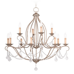 Livex Lighting Chesterfield Antique Silver Leaf Crystal Chandelier