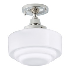 Norwell Lighting Schoolhouse Polished Nickel Semi-Flushmount Light