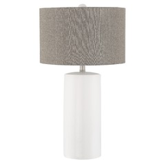Lite Source Jacoby White Table Lamp with Drum Shade