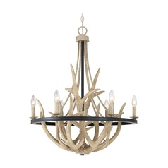 Rustic Black Chandelier with Faux Antlers by Quoizel Lighting