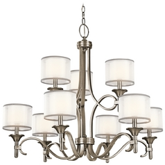 Kichler Chandelier with White Glass in Antique Pewter Finish