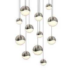 Sonneman Grapes Satin Nickel 12 Light LED Multi-Light Pendant