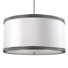 Feiss Lighting Pave Polished Nickel Pendant Light with Drum Shade
