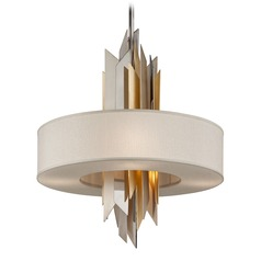 Modern Art Deco Pendant Light Polished Stainless / Silver & Gold Leaf Modernist by Corbett