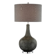 Lite Source Dylan Metallic Grey Table Lamp with Drum Shade