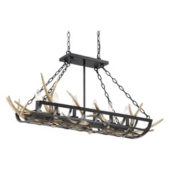 Rustic Black Island Chandelier with Faux Antlers by Quoizel Lighting