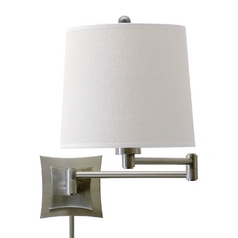 Swing Arm Lamp with White Linen Shade with Three-Way Switch