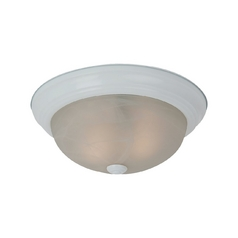 Flushmount Light with Alabaster Glass in White Finish