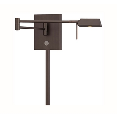 Modern LED Swing Arm Lamp in Copper Bronze Patina Finish