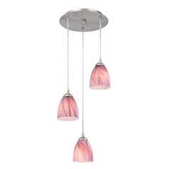 Design Classics Lighting Modern Multi-Light Pendant Light with Pink Art Glass and 3-Lights 583-09 GL1004MB