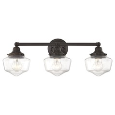 Clear Glass Schoolhouse Bathroom Light Bronze 3 Light 23.125 Inch Length