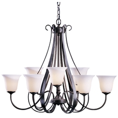 Hubbardton Forge 2-Tier 9-Light Chandelier with White Glass in Dark Smoke