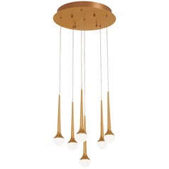 George Kovacs Honey Drip Sunset Gold LED Multi-Light Pendant with Globe Shade
