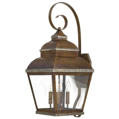 Outdoor Wall Light with Clear Glass in Mossoro Walnut W/silver Highlights Finish
