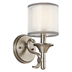 Kichler Sconce with White Glass in Antique Pewter Finish