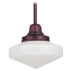 8-Inch Mini-Pendant Light with Schoolhouse Glass in Bronze Finish