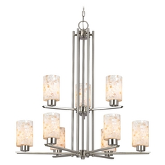 Chandelier with Mosaic Glass in Satin Nickel Finish - 9-Lights