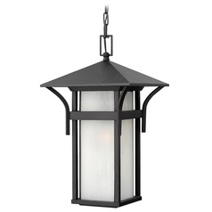 LED Outdoor Hanging Light with White Glass in Satin Black Finish