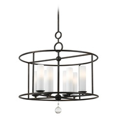 Crystorama Lighting Cameron English Bronze Pendant Light with Cylindrical Shade