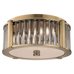 Hartland 3 Light Flushmount Light - Aged Brass