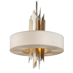 Corbett Lighting Modernist Polished Stainless Pendant Light with Drum Shade
