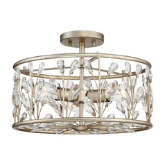 Crystal Semi-Flushmount Light Gold Meadow Lane by Quoizel Lighting