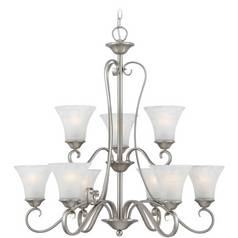 Quoizel 2-Tier 9-Light Chandelier with Grey Glass in Antique Nickel