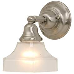 Craftsman Style Sconce Satin Nickel with Square Glass