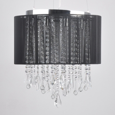 Beverly Drive Crystal Pendant with Black Drum Lamp Shade
