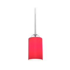Design Classics Lighting Chrome Mini-Pendant Light with Red Cylinder Glass 581-26 GL1008C