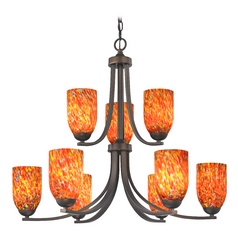 Modern Chandelier with Art Glass in Bronze Finish