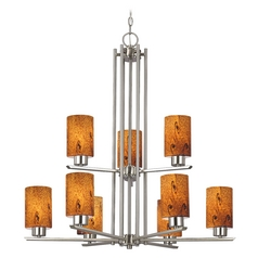 Chandelier with Brown Art Glass in Satin Nickel - 9-Lights