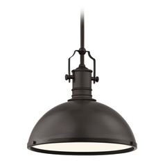 Industrial Bronze Pendant Light 13.38-Inch Wide