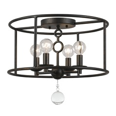 Crystorama Lighting Cameron English Bronze Semi-Flushmount Light