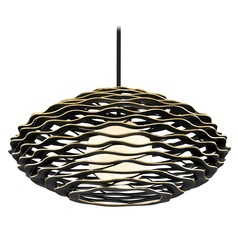 Corbett Lighting Luma Black and Gold Medium Pendant Light with Globe Shade