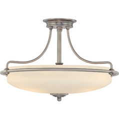 Modern Semi-Flushmount Light with White Glass in Antique Nickel Finish