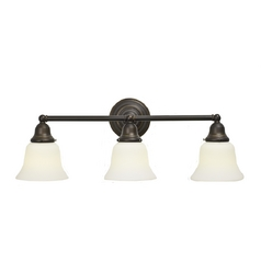 Fluorescent Three-Light Bathroom Light with Bell Shades