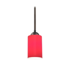 Design Classics Lighting Bronze Mini-Pendant Light with Red Cylinder Glass 581-220 GL1008C