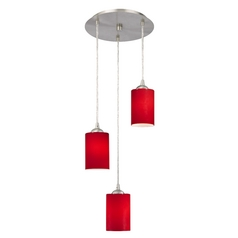 Design Classics Lighting Modern Multi-Light Pendant Light with Red Glass and 3-Lights 583-09 GL1008C