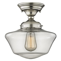 Schoolhouse Ceiling Light Clear Glass Satin Nickel 10-Inch