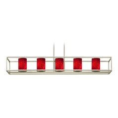 Red Art Glass Linear Chandelier 5-Lights in Satin Nickel
