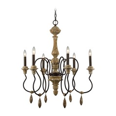 Dimond Salon De Provence Natural Woodtone and Aged Iron Chandelier