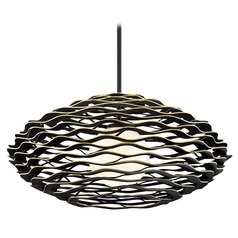 Corbett Lighting Luma Black and Gold Large Pendant Light with Globe Shade