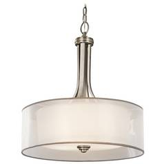 Kichler Drum Pendant Light with White Glass in Antique Pewter Finish